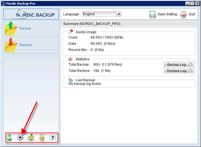 Click on Backup Settings to begin creating a new backup set