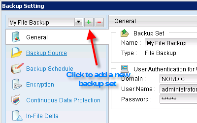 Click the plus sign to open a new backup job