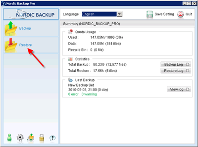 Launch Nordic Backup and click restore