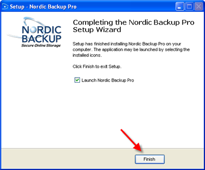 Click finish to exit and begin using Nordic Backup Pro