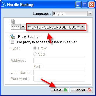 Fill in backup server address provided in your welcome email