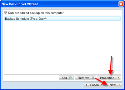 Click Properties to edit the backup schedule