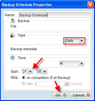Adjust backup schedule to fit your scheduling