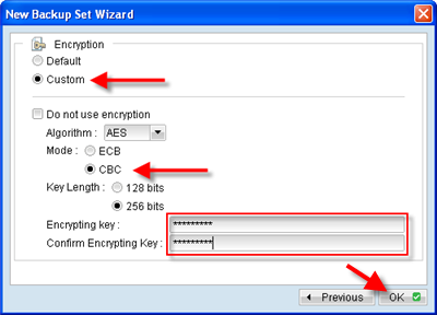 Set an advanced encryption key to secure your data
