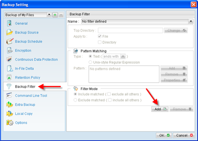 Use filter to customize backup selections based on file extension